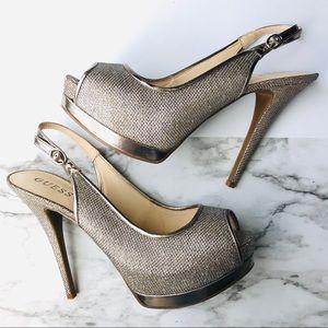 Guess Open Toe Shiny Heels Size 8 GW Glenisa2